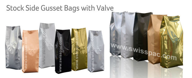 Stock Side Gusset Bags With Valve