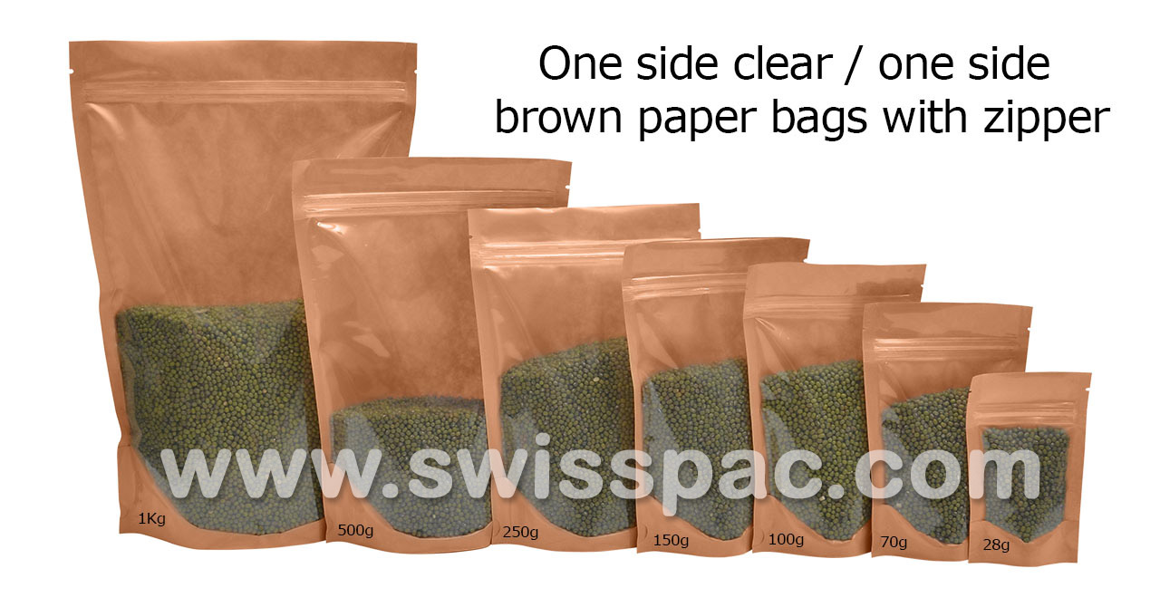 One Side Clear / One Side Brown Paper Bags With Zipper